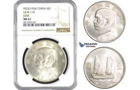 "AA378, China ""Junk"" Dollar Year 23 (1934) Silver, L&M 110, NGC MS61"