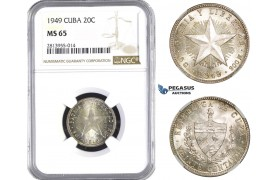AA379, Cuba, 20 Centavos 1949, Philadelphia, Silver, NGC MS65
