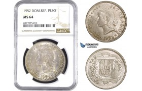 AA380, Dominican Republic, Peso 1952, Silver, NGC MS64