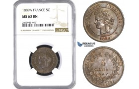 AA388, France, Third Republic, 5 Centimes 1889-A, Paris, NGC MS63BN