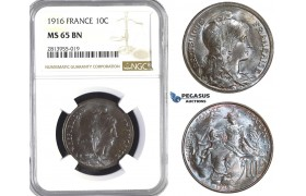 AA391, France, Third Republic, 10 Centimes 1916, Paris, NGC MS65BN