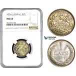 AA426, Latvia, 1 Lats 1924, Silver, NGC MS64