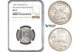 AA429, Lithuania, 5 Litai 1936, SIlver, NGC MS61