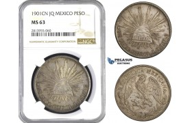 AA430, Mexico, Peso 1901 Cn JQ, Culiacán, Silver, NGC MS63