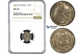 AA433, Peru, 1/2 Dinero 1863 LIMA YB, Lima, Silver, NGC MS65