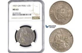 AA434, Peru, 1/2 Sol 1927 LIMA GM, Lima, Silver, NGC MS63