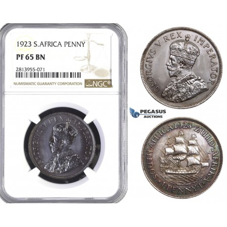 AA440, South Africa, George V, Penny 1923, Pretoria, NGC PF65BN