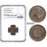 AA441, Straits Settlements, Victoria, 1/4 Cent 1845, NGC UNC Details