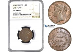 AA442, Straits Settlements, Victoria, 1/2 Cent 1845 WW, NGC AU58BN