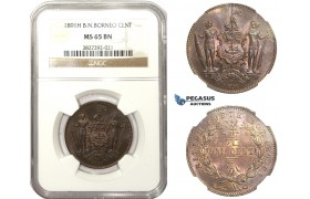 AA468, British North Borneo, 1 Cent 1891-H, Heaton, NGC MS65BN