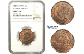AA471, Canada, Victoria, 1 Cent 1859, Narrow 9, NGC MS63RB