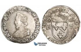 AA474, France, Dombes, Henri II de Montpensier, Teston 1607, Trévoux, Silver (9.58g) XF