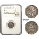 AA475, France, Napoleon I, 1/2 Franc 1808-A, Paris, Silver, NGC MS61