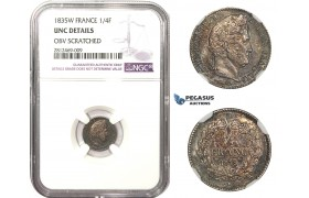 "AA476, France, Louis Philippe I, 1/4 Franc 1835-W, Lille, Silver, NGC UNC ""Scratched"""