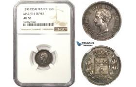 AA477, France, Henri V, Essai 1/2 Franc 1833, Paris, Silver, NGC AU58