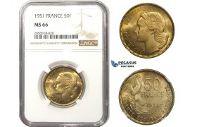 AA479, France, Fourth Republic, 50 Francs 1951, Paris, NGC MS66