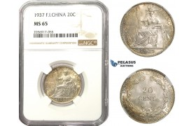AA481, French Indo-China (Vietnam) 20 Centimes 1937, Silver, NGC MS65