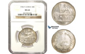 AA482, French Indo-China, 50 Centimes 1936, Paris, Silver, NGC MS64