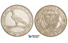 AA485, Germany, Weimar, 5 Reichsmark 1930-J, Hamburg, Silver, Lustrous aUNC