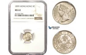 AA488, Hong Kong, Victoria, 5 Cents 1899, Silver, NGC MS62