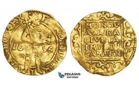AA494, Netherlands, Campen, Ferdinand III, Ducat 1656, Gold (3.33g) Wavy flan, test cut, VF