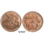 AA495, Netherlands, Holland, Duit 1739, Copper, Red UNC