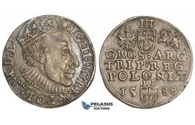 AA496, Poland, Sigismund III, 3 Groschen (Trojak) 1588-ID, Olkusz, Silver (2.34g) Toned VF-XF, Rare!