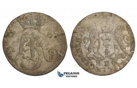 AA498, Poland, Danzig, August III, 3 Groschen (Trojak) 1763, Danzig, Billon/Silver? (1.27g) VF