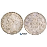 AA499, Romania, Carol I, 50 Bani 1901, Hamburg, Silver, Cleaned AU, Rare