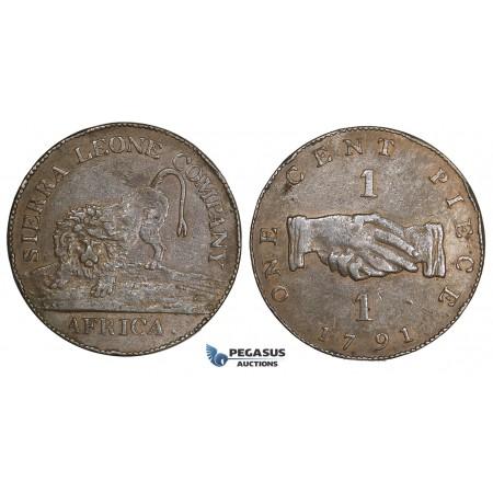 AA514, Sierra Leone Company, 1 Cent 1791, Soho Mint, Original Strike from 1793, aXF