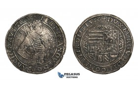AA519, Austria, Archduke Ferdinand, Guldentaler (60 Kreuzer) 1566, Hall, Silver (22.85g) Fire damaged, VF