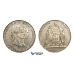 AA520, Austria, Franz Joseph, Double Gulden 1854, Vienna, Silver, Wedding, Cleaned AU