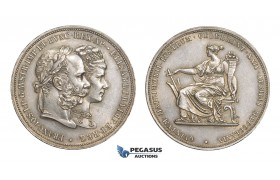 AA521, Austria, Franz Joseph, Double Gulden 1879, Vienna, Silver, 25th Wedding Anniversary, Cleaned AU