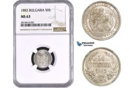AA523, Bulgaria, Alexander, 50 Stotinki 1883, St. Petersburg, Silver, NGC MS63