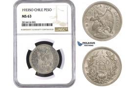 AA524, Chile, Peso 1933-SO, Santiago, NGC MS63