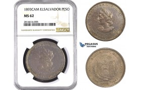 AA526, El Salvador, Peso 1893 C.A.M, San Salvador, Silver, NGC MS62, Pop 6/1