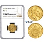 AA529, France, Napoleon III, 20 Francs 1861-A, Paris, Gold, NGC MS63