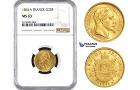 AA529, France, Napoleon III, 20 Francs 1861-A, Paris, Gold, NGC MS63