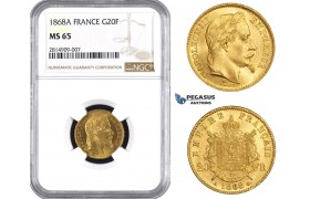 AA532, France, Napoleon III, 20 Francs 1868-A, Paris, Gold, NGC MS65