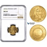 AA537, France, Third Republic, 20 Francs 1876-A, Paris, Gold, NGC MS64