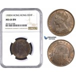 AA543, Hong Kong, Victoria, 1 Cent 1900-H, Heaton, NGC MS64BN