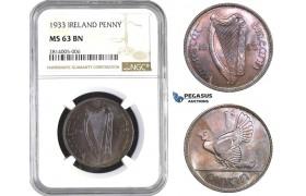 AA549-R, Ireland, Penny 1933, NGC MS63BN