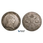 AA550, Italy, Francis II, Crocione 1793-M, Milan, Silver, Toned VF-XF