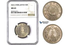 AA551, Japan, Meiji, 50 Sen Year 41 (1908) Silver, NGC MS63