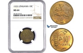AA552, Lithuania, 10 Centu 1925, NGC MS64