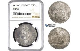 AA553, Mexico, Peso 1872 Do PT, Durango, Silver, NGC AU50, Rare!