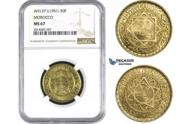 AA554-R, Morocco, Mohammed V, 50 Francs AH1371 (1951) NGC MS67