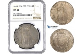 AA555, Peru, 8 Reales 1845 LIMA MB, Lima, Silver, NGC MS62, Pop 1/1