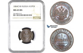 AA559-R, Russia, Alexander III, 1 Kopek 1884 СПБ, St. Petersburg, NGC MS65BN