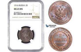 AA560-R, Russia, Nicholas II, 2 Kopeks 1916, NGC MS65BN (Looks more RB)